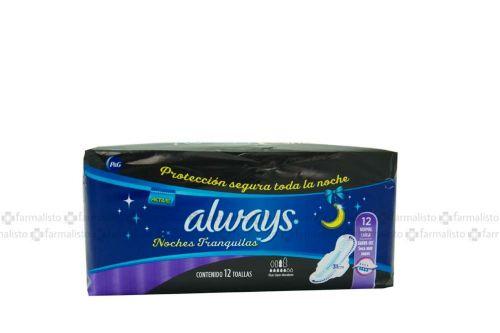 Always Noches Tranquilas Paquete Con 12 Toallas Femeninas