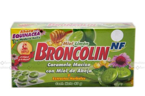 Broncolin NF Caramelo Macizo Con Miel De Abeja Sabor Miel-Limón Caja Con 40g - Tos