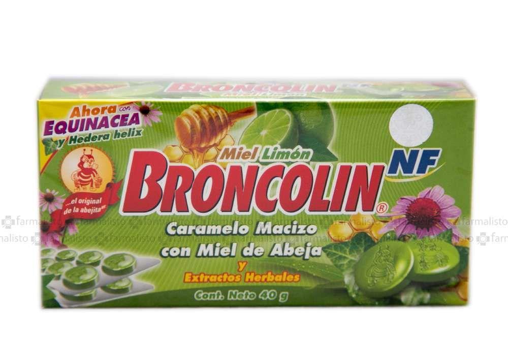 Broncolin NF Caramelo Macizo Con Miel De Abeja Sabor Miel-Limón Caja Con 40g