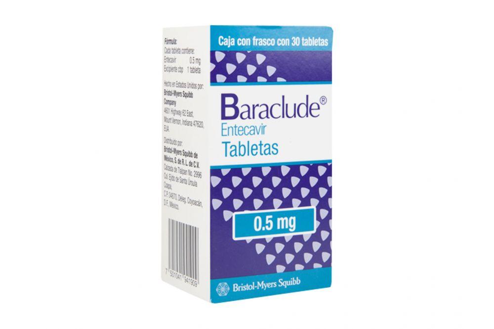 Baraclude 0.5 mg Caja Con Frasco Con 30 Tabletas