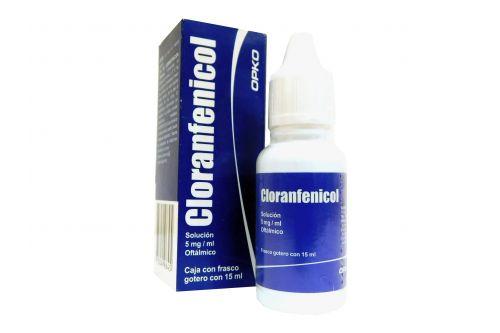 Cloranfenicol Oftálmico 5 mg/mL Caja Con Frasco Gotero RX2 RX3