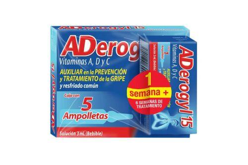 Aderogyl 15 Caja Con 5 Ampolletas De 3 mL + Mas 1 Ampolleta de Regalo