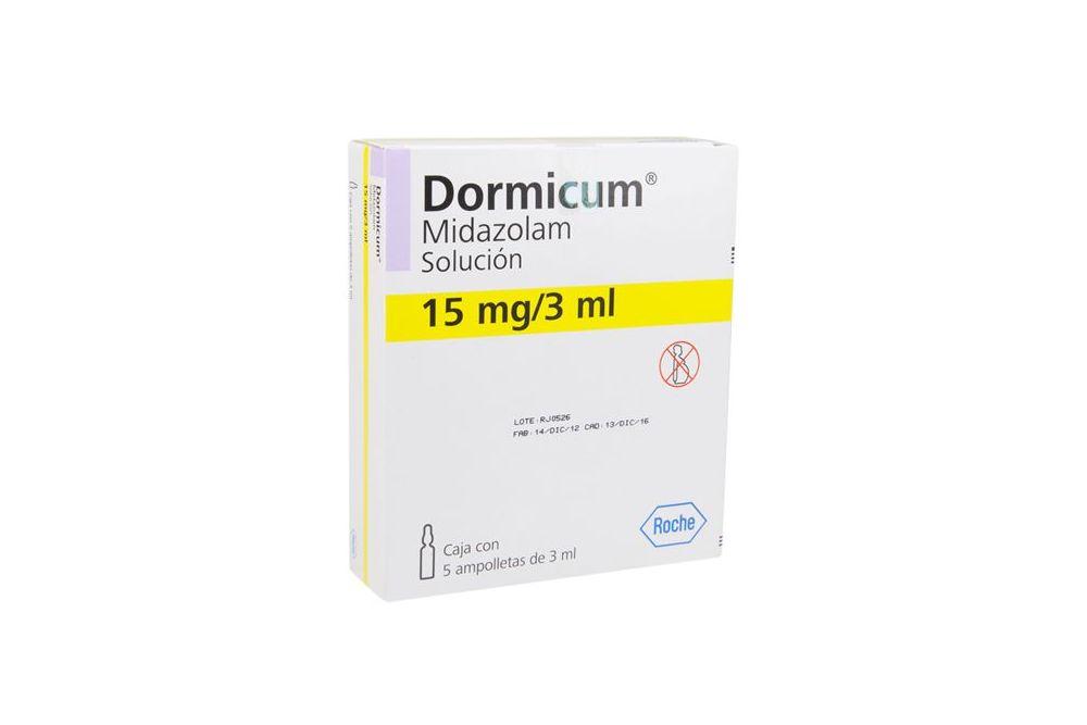 Dormicum 15 mg / 3 mL Caja Con 5 Ampolletas De 3 mL -  RX1