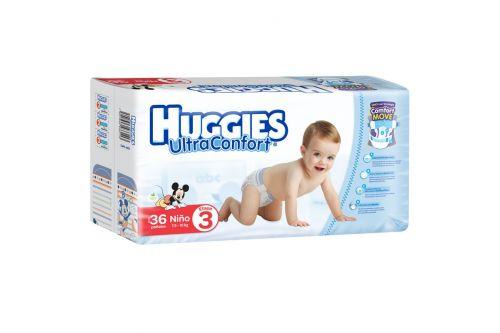 HUGGIES ULTRACONFORT PAQUETE CON 36 piezas ETAPA 3