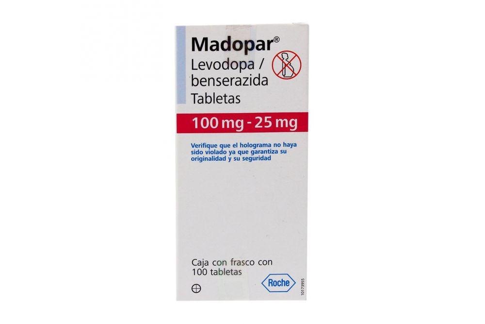 Madopar 100 / 25 mg Caja Con Frasco Con 100 Tabletas