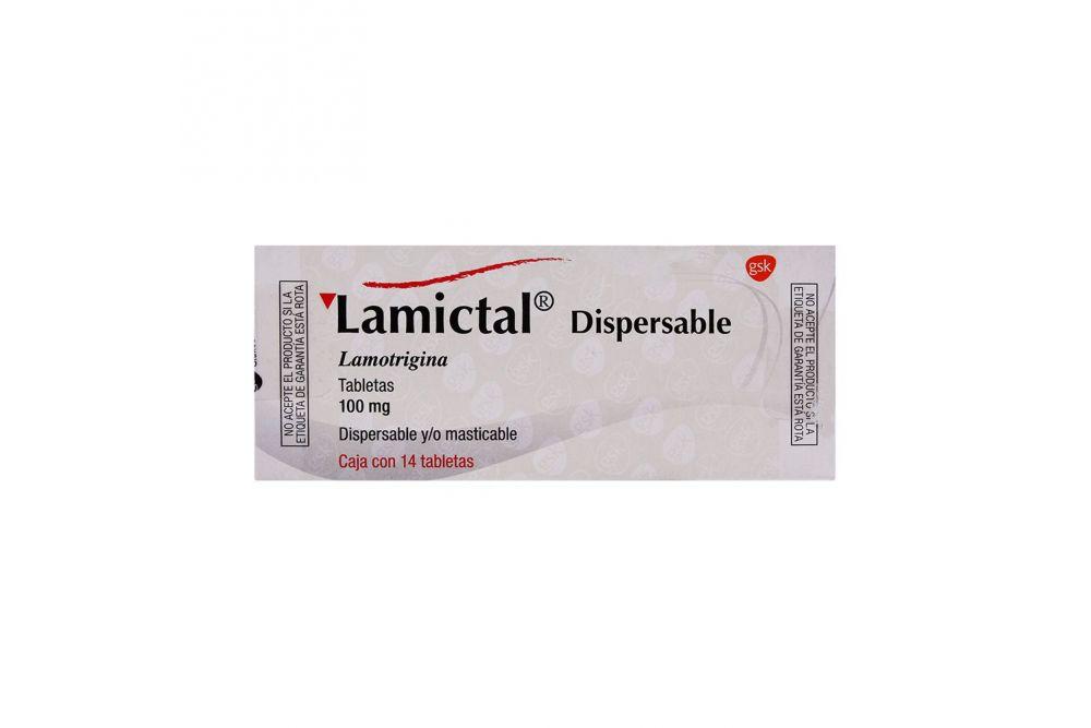 Lamictal Dispersable 100 mg Caja Con 14 Tabletas Sabor Grosella