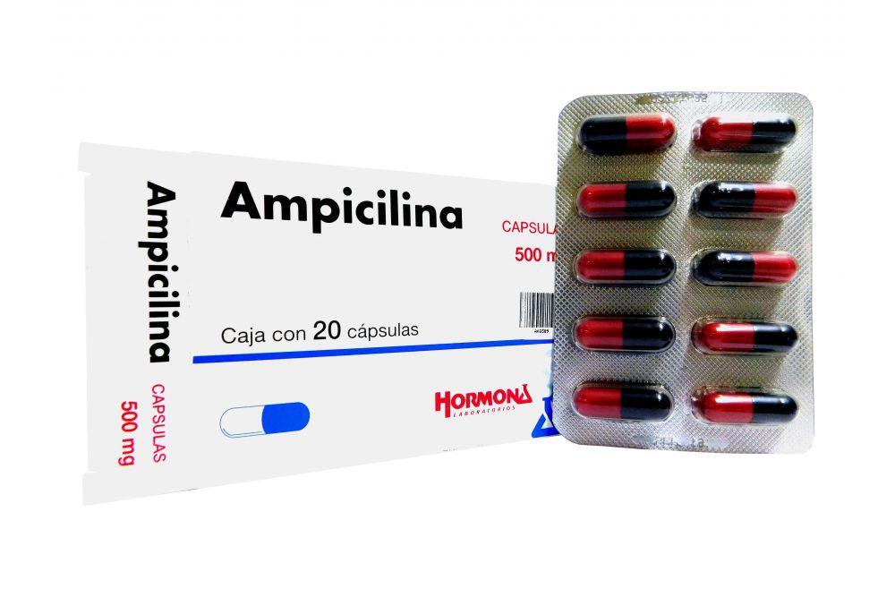 Ampicilina Cápsulas 500 mg Caja Con 20 Cápsulas - RX2
