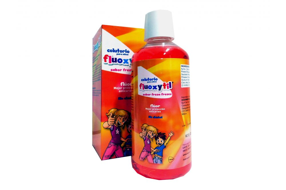 Flúor Fluoxytil Colutorio 500 mL Sabor Fresa Fresca Frasco