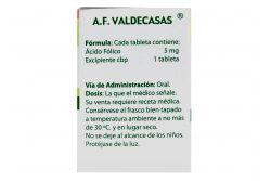 Ácido Fólico 5 mg Caja Con Frasco Con 92 Tabletas