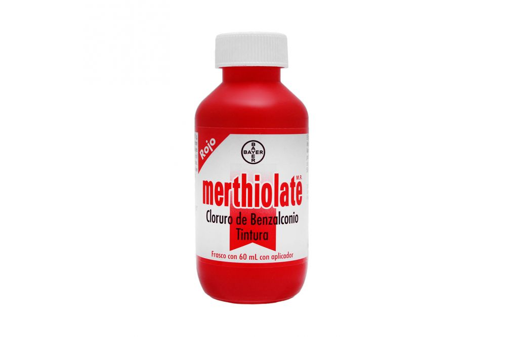 Merthiolate Tintura Rojo Frasco Con Aplicador Con 60 mL