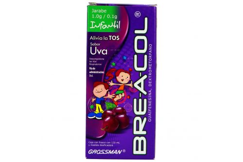 Bre-A-Col Jarabe Infantil 1.0 g / 0.1 g Caja Con Frasco Con 120 mL Sabor Uva
