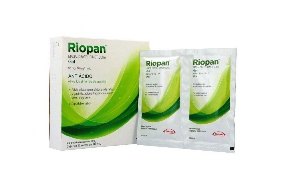 Riopan Gel Caja Con 10 Sobres De 10 mL Cada Uno