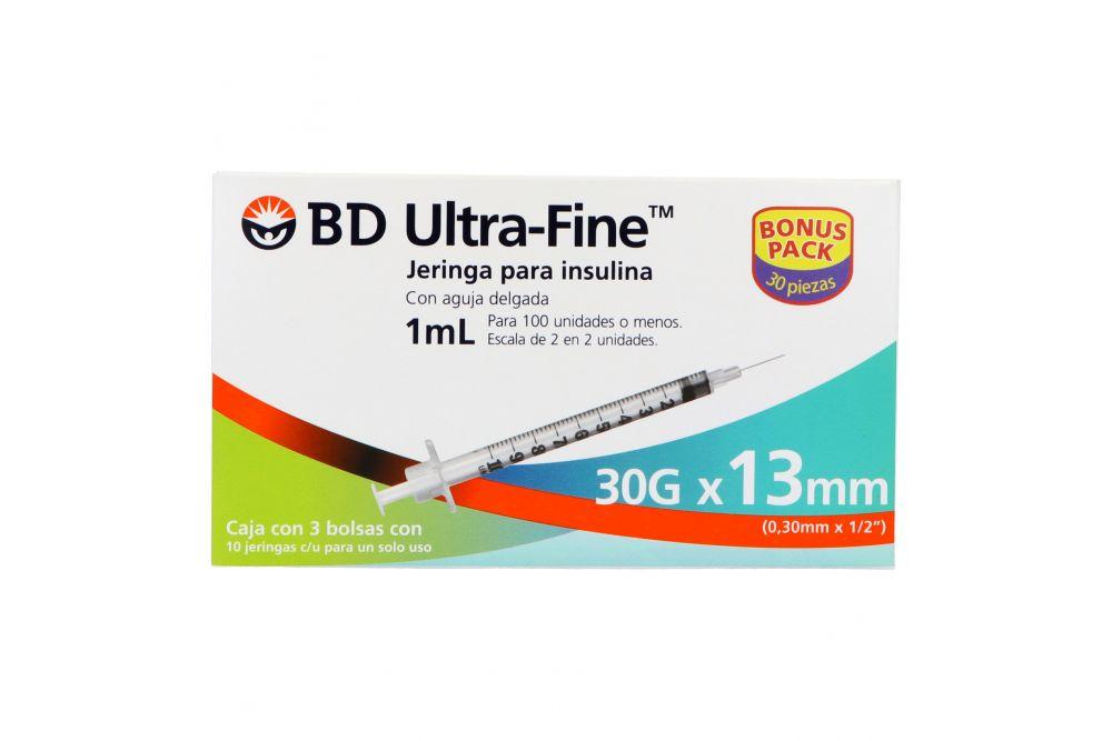 BD UltraFine Jeringa Para Insulina 1mL 30Gx13mm Caja Con 3 bolsas de 10 piezas cada una