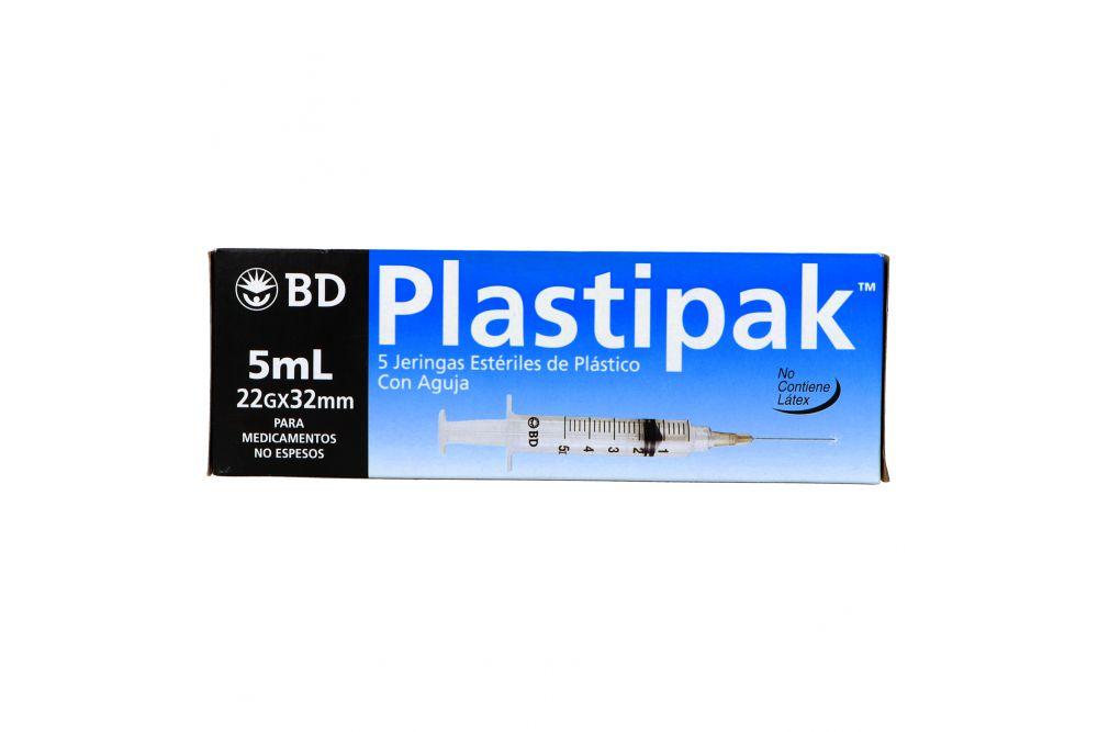 BD Plastipak Caja Con 5 Jeringas Estériles 5mL 22Gx32mm
