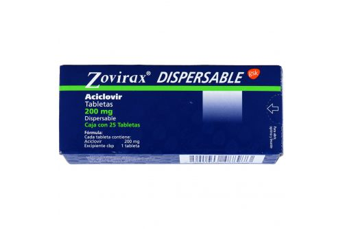 Zovirax Dispersable 200 mg Caja Con 25 Tabletas