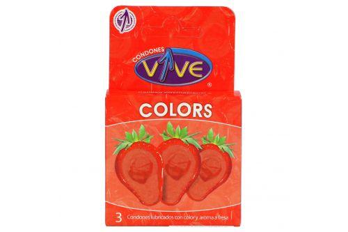 Condones VIVE COLORS Caja Con 3 Piezas Con Color Y Aroma a  Fresa