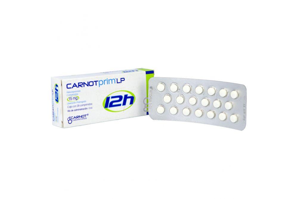 Carnotprim LP 12H 15 mg Caja Con 20 Comprimidos