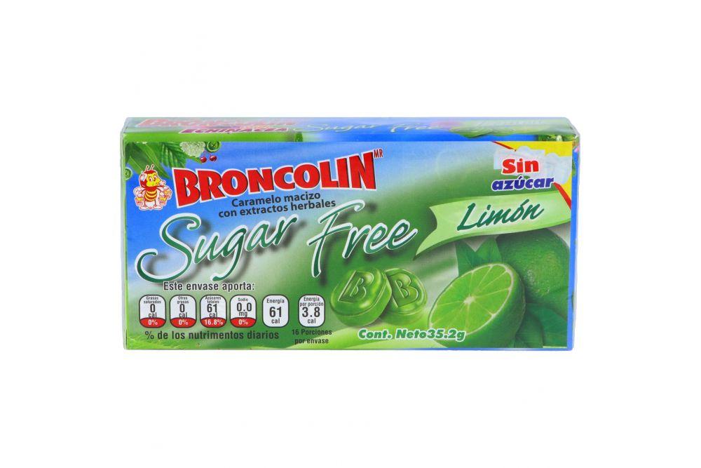 Broncolin Sugar Free Con Extractos Herbales Sabor Limón Caja Con 35g