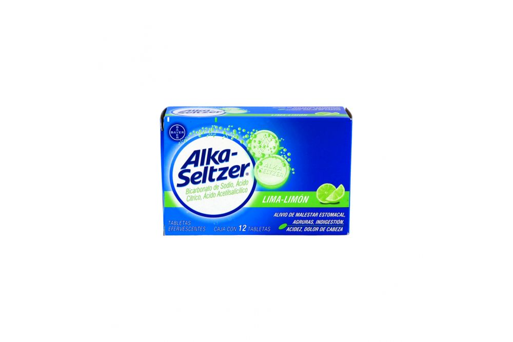 Alka Seltzer Caja Con 12 Tabletas Efervescentes Sabor Lima-Limón