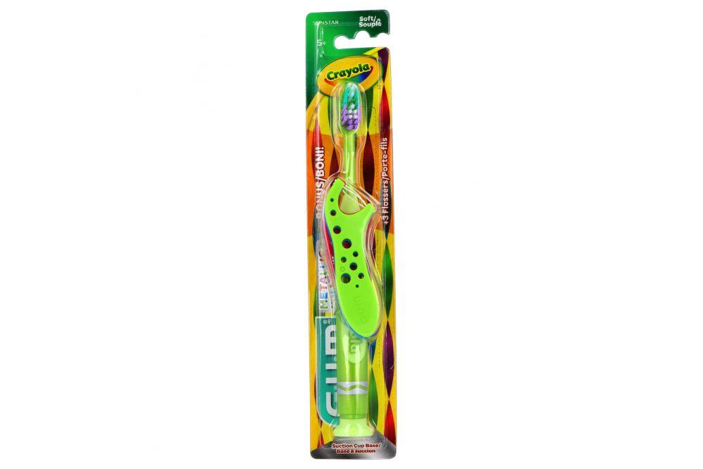 Cepillo Denta Infantill + Hilos Dentales Con Mango GUM Crayola Empaque Con 4 Piezas