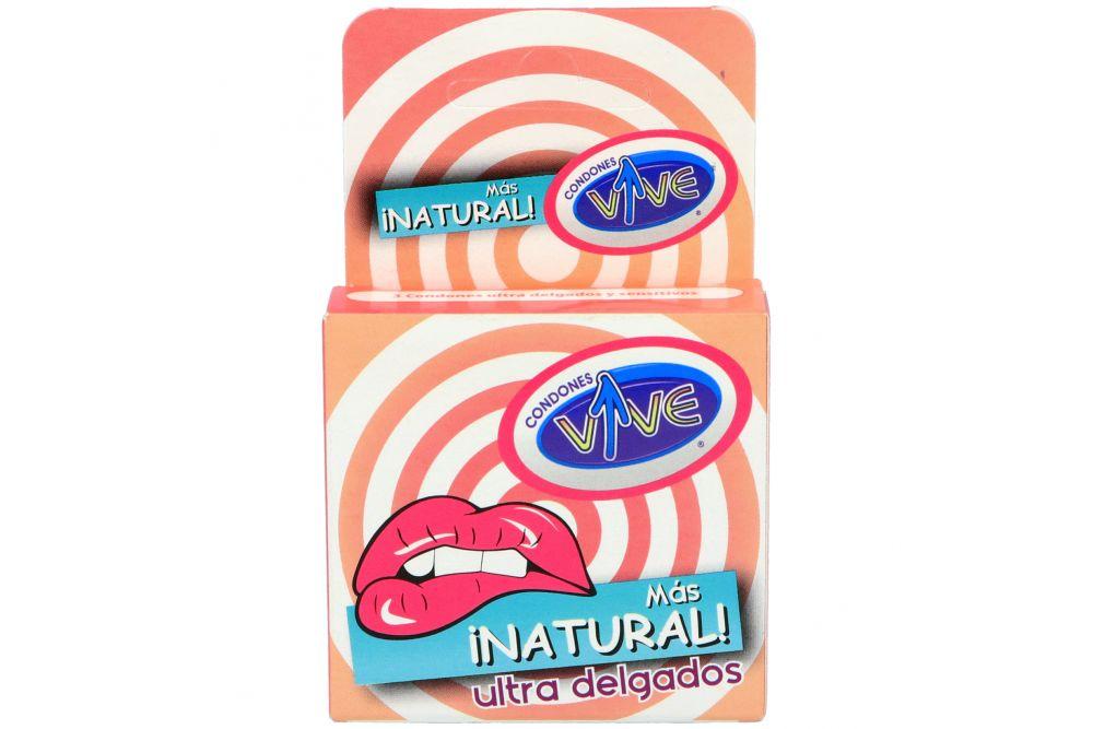 Condones Vive Más Natural Ultra Delgados Caja Con 3 Piezas