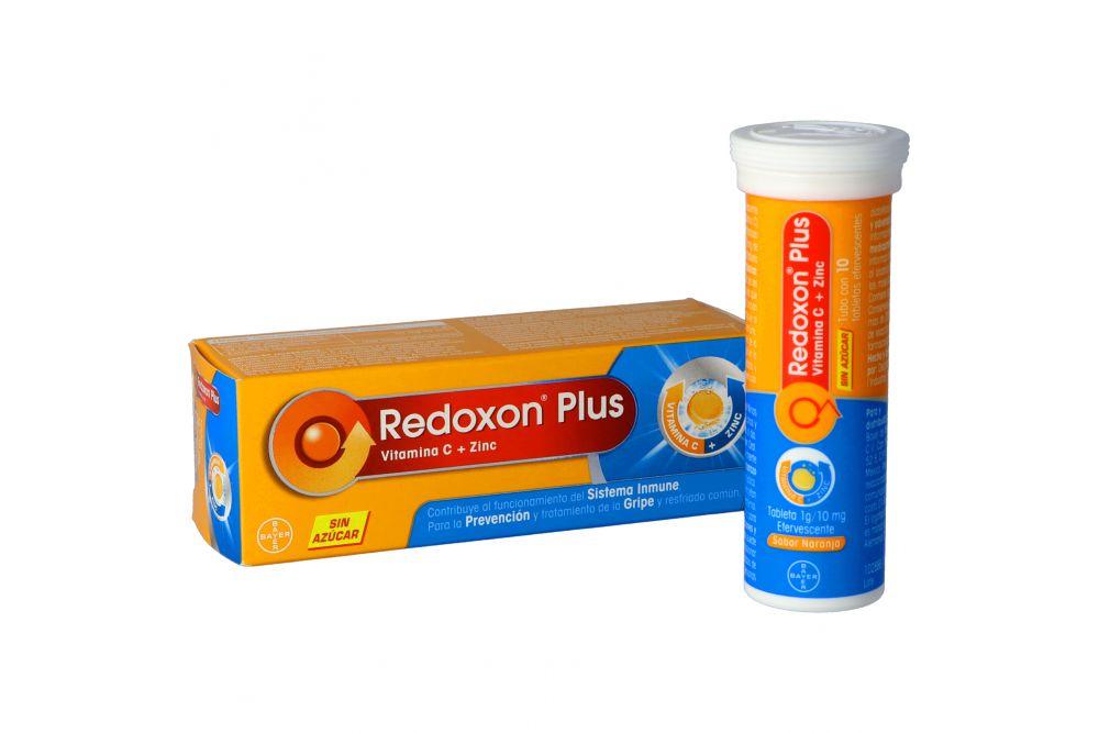 Redoxon Plus Sin Azúcar Caja Con Tubo Con 10 Tabletas Efervescentes