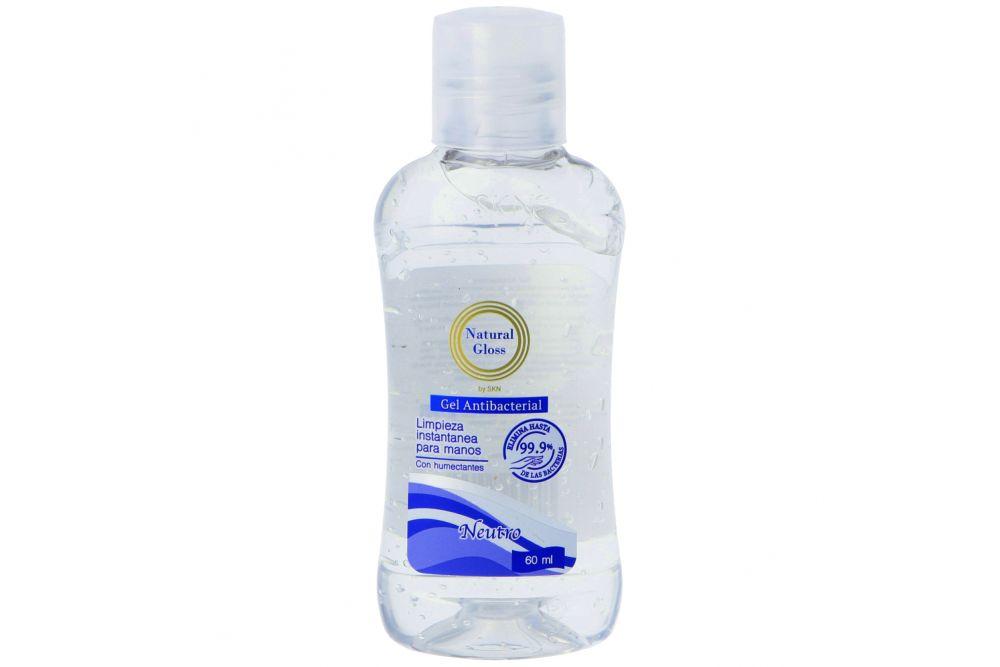 Gel Antibacterial Natural Gloss Neutro Frasco Con 60 mL