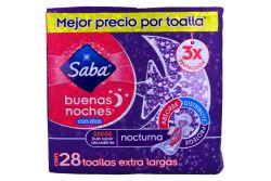 Toallas Sanitarias Saba Buenas Noches Con Alas Paquete Con 28 Piezas