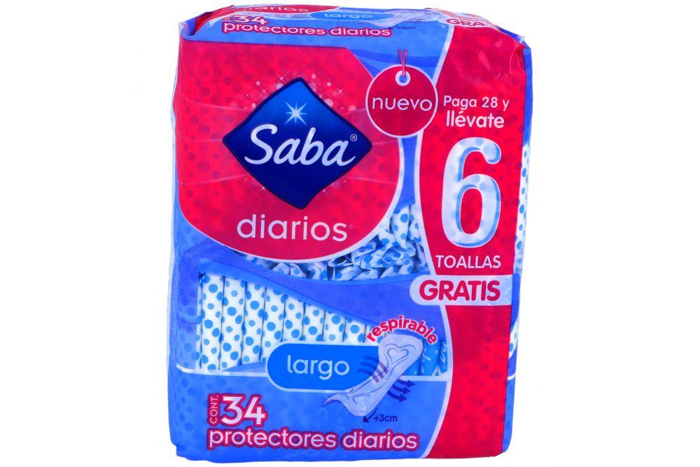 Protectores Diarios Saba Largo Paquete Con 28 Piezas
