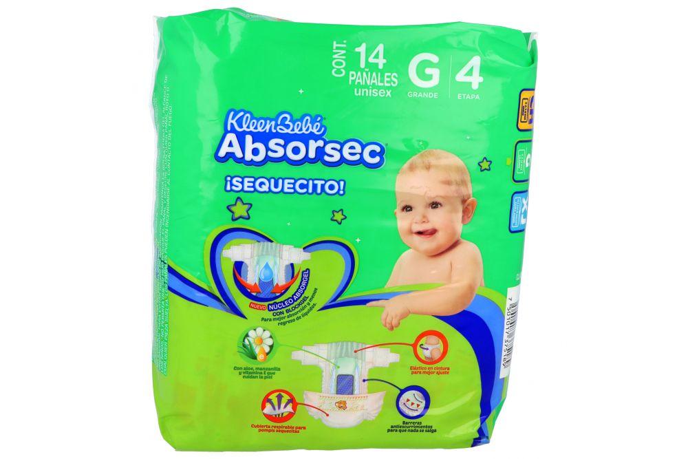 Pañales Kleen Bebé Absorsec Etapa G Paquete Con 14 Piezas
