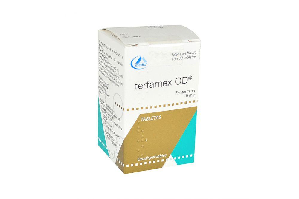 Terfamex OD 15 mg Caja Con Frasco Con 30 Tabletas - RX1