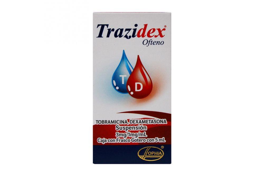 Trazidex Ofteno 3 mg / 1 mg / mL Caja Con Frasco Gotero Con 5 mL