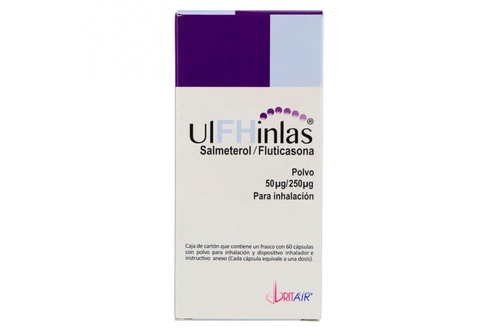 Ulfhinlas 50 Mcg /250 Mcg Caja Con Frasco Con 60 Cápsulas y Dispositivo Inhalador