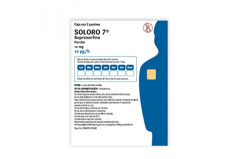 Soloro 7 Con 10 mg Caja con 2 Parches RX1