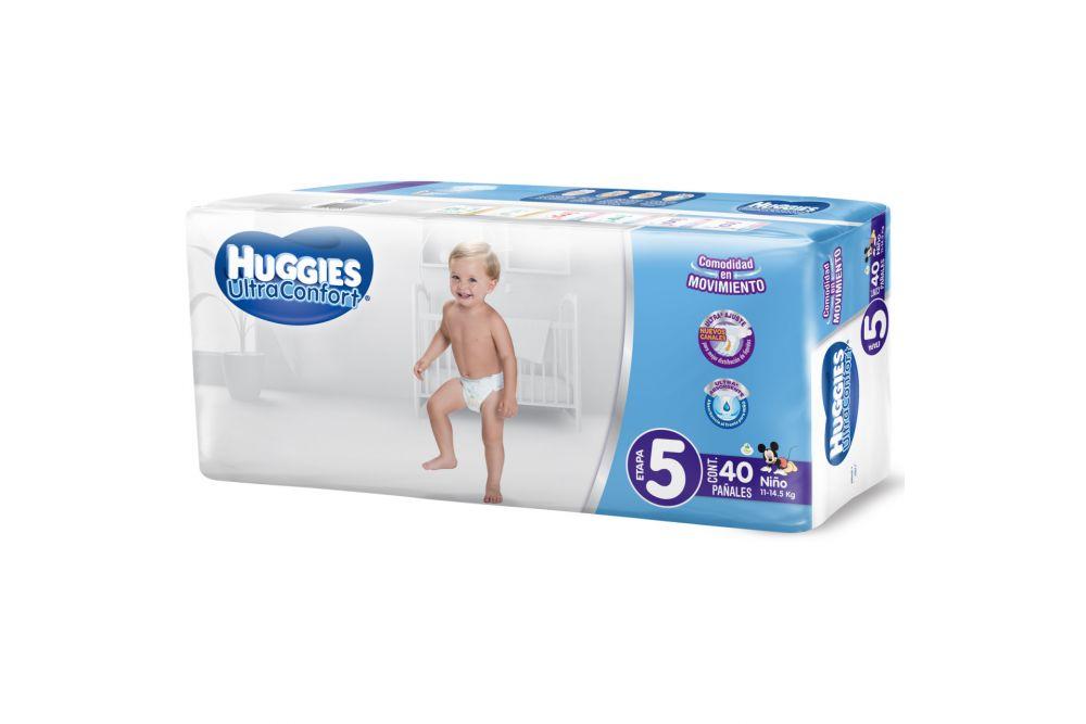 Pañales Huggies Ultraconfort Para Niño Paquete Con 40 Pañales Desechables - Etapa 5