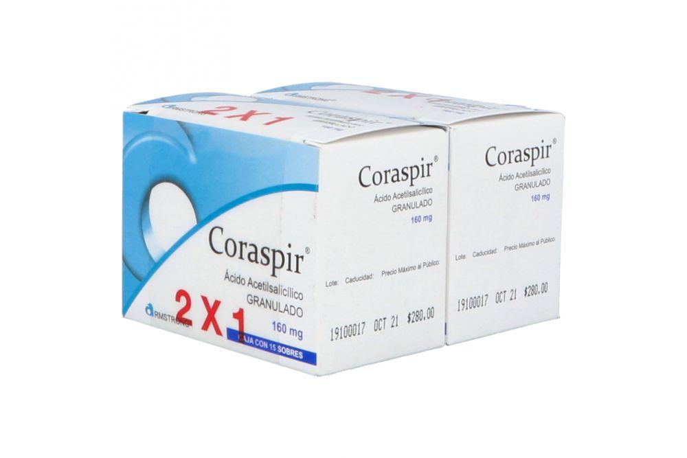 Coraspir Granulado 160 mg Caja Con 15 Sobres - 2x1