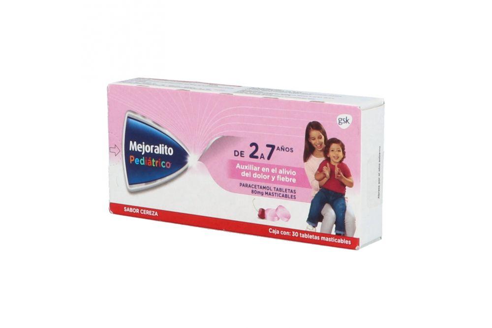 Mejoralito Pediátrico 80 mg Caja Con 30 Tabletas Sabor Cereza