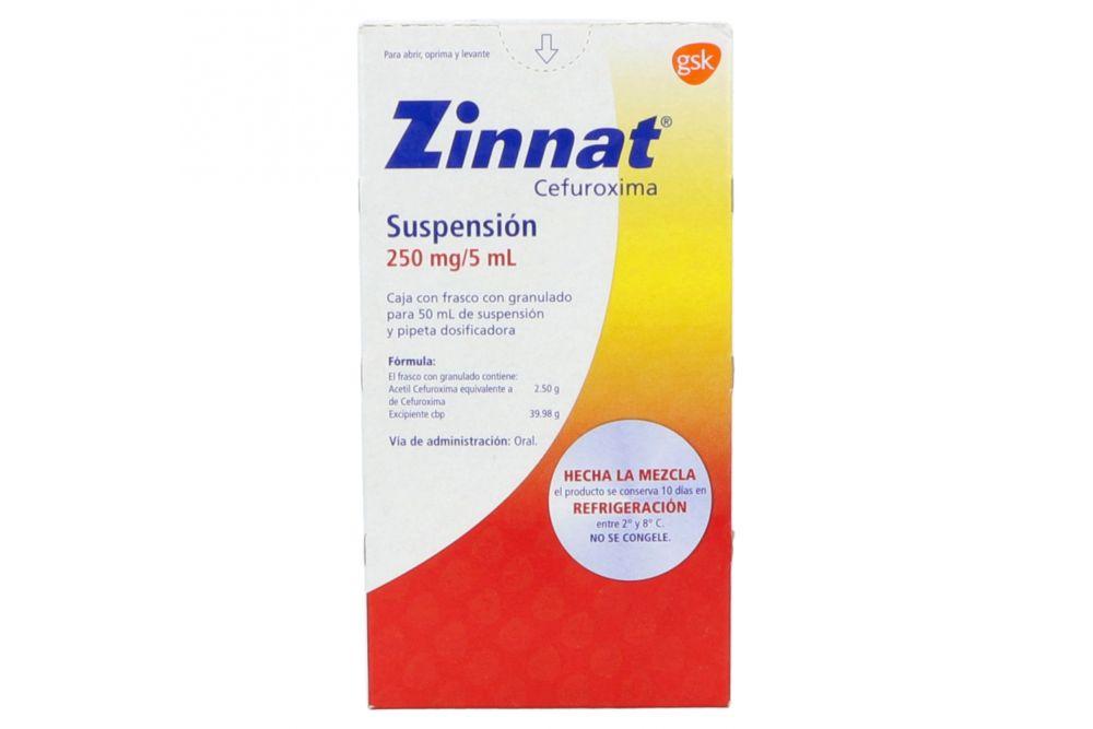 Zinnat Suspensión 250mg/5mL Caja Con Frasco Con Granulado Para 50mL -RX2