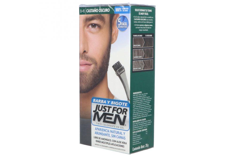 Tinte Just For Men Barba Y Bigote Color Castaño Oscuro Caja Con 1 Pieza