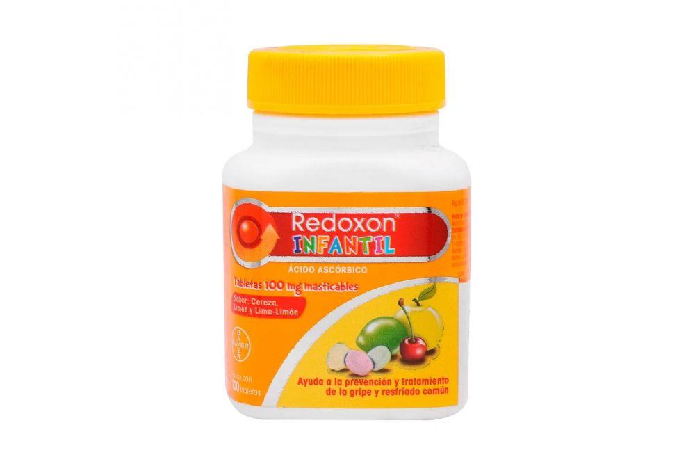 Redoxon Infantil 100 mg Frasco Con 100 Tabletas Masticables Sabor Cereza-Limón