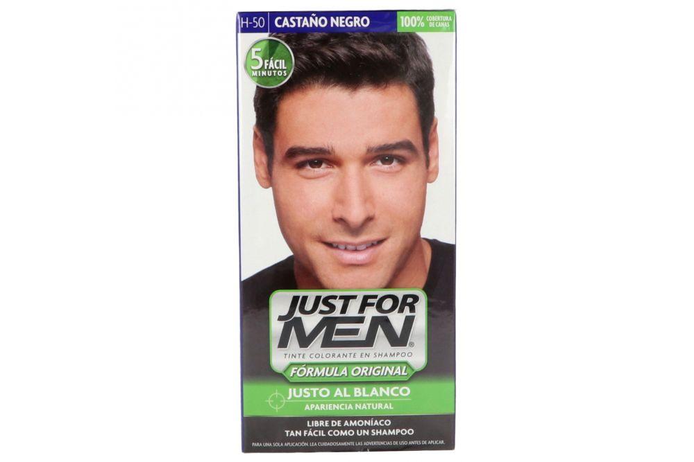 Just For Men Caja Con Tinte Colorante En Shampoo Color Castaño Negro