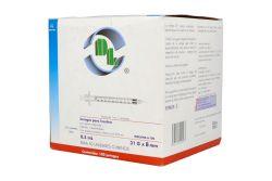 Jeringa Desechable Caja Con 100 Piezas  0.5 mL Con Aguja 31 g X 8 Mm