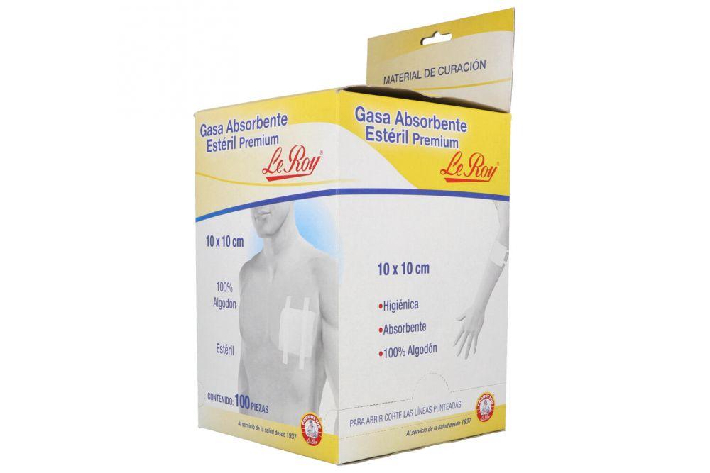 Gasa Estéril Premium Le Roy Caja Con 100 Sobres Con 1 Gasa 10 X 10 cm
