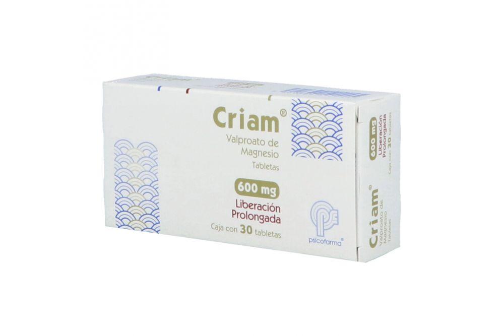 Criam 600 mg Caja Con 30 Tabletas