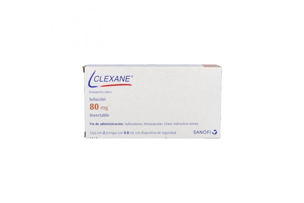 Clexane 80 mg Solución Caja Con 2 Jeringas Con 0.8 mL - RX