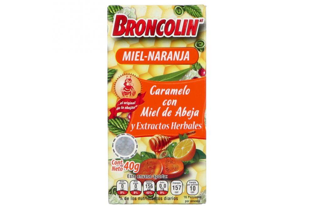 Broncolin Miel-Naranja 40g Caramelo Con Miel De Abeja Y Extractos Herbales