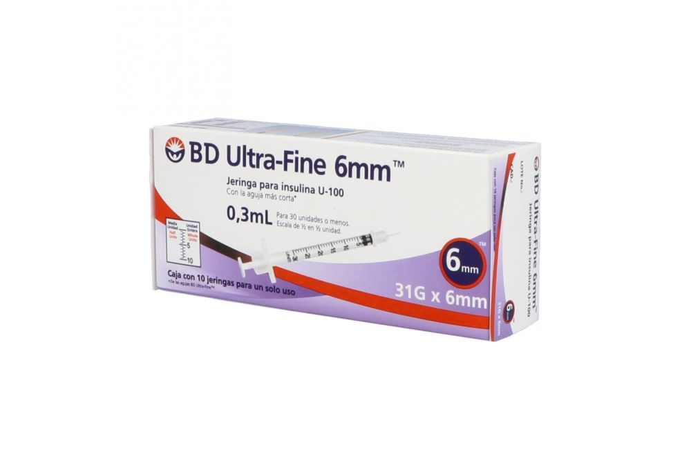 BD Ultrafine 6mm 0.3mL Para Insulina Caja Con 10 Jeringas 31Gx6mm
