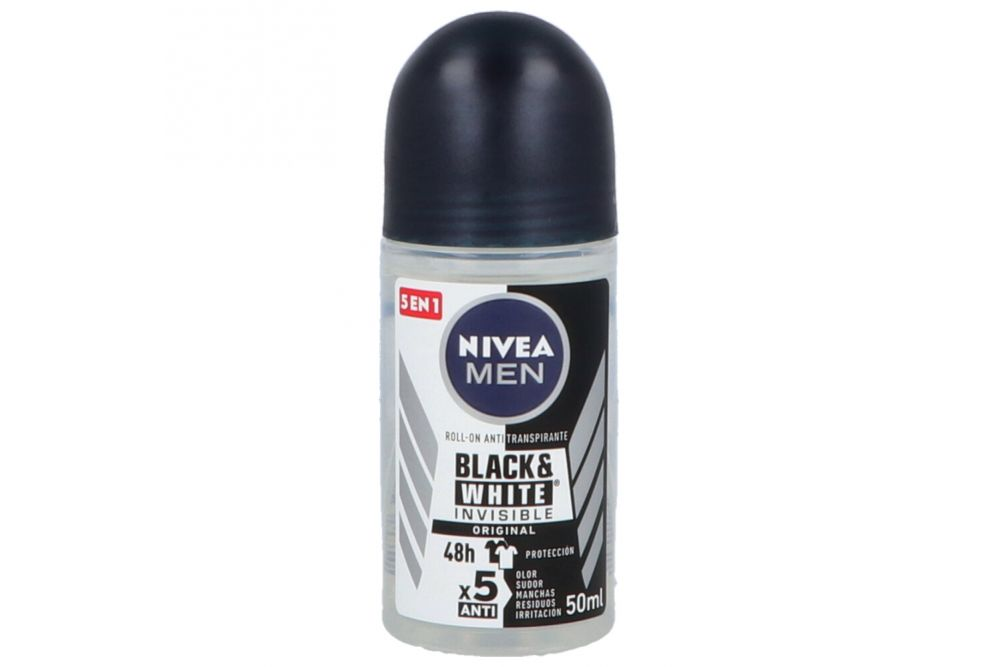 Antitranspirante Nivea Men Invisible For Black & White Roll-On Con 50 mL
