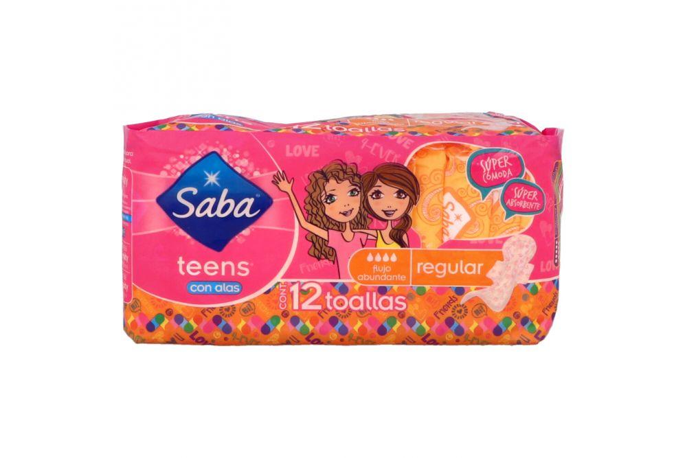 Saba Teens Toallas Sanitarias Regular Con Alas Paquete Con 12 Toallas