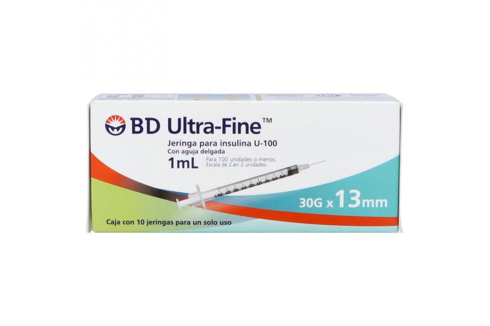 BD Ultra Fine Jeringa Para Insulina U-100 1mL 30Gx13mm Caja Con 10 Piezas